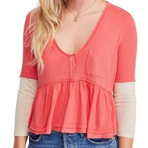 NWT Free People Heart of Mine Colorblock Top